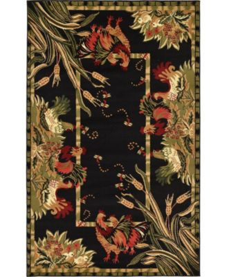 Roost Roo1 Black 5' x 8' Area Rug