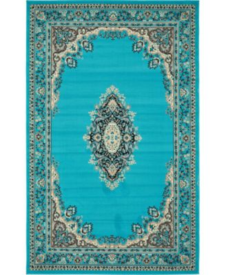 Birsu Bir1 Turquoise 5' x 8' Area Rug
