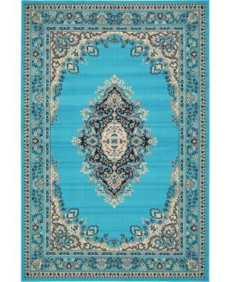Birsu Bir1 Turquoise 6' x 9' Area Rug