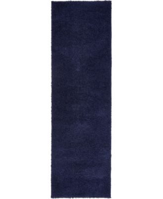 """Salon Solid Shag Sss1 Midnight Blue 2' x 6' 7"""" Runner Area Rug"""