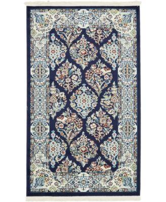 Zara Zar6 Navy Blue 3' x 5' Area Rug