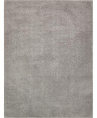 Salon Solid Shag Sss1 Light Gray 9' x 12' Area Rug