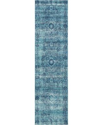 "Wisdom Wis3 Turquoise 2' 7"" x 10' Runner Area Rug"