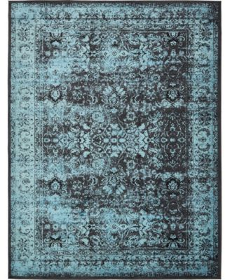 Linport Lin1 Turquoise/Black 10' x 13' Area Rug