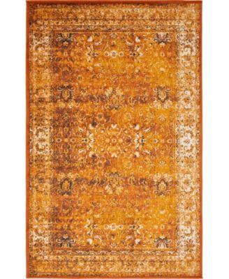 Linport Lin1 Terracotta/Ivory 5' x 8' Area Rug