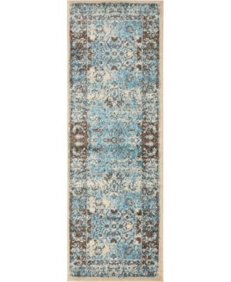 Linport Lin1 Ivory/Turquoise 2' x 6' Runner Area Rug