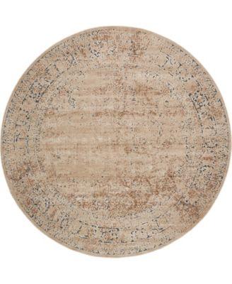 Odette Ode3 Beige 8' x 8' Round Area Rug