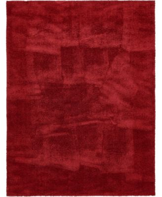 Salon Solid Shag Sss1 Red 9' x 12' Area Rug