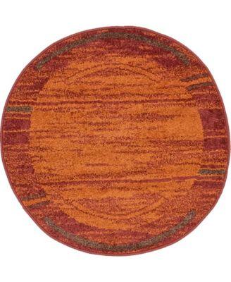 """Jasia Jas11 Terracotta 3' 3"""" x 3' 3"""" Round Area Rug"""