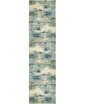 """Crisanta Crs7 Light Blue 2' 7"""" x 10' Runner Area Rug"""