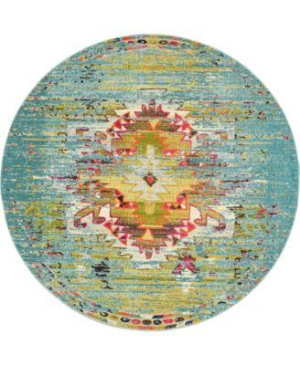 Brio Bri9 Turquoise 8' x 8' Round Area Rug