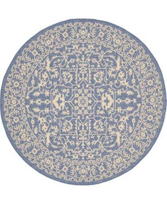 Pashio Pas6 Navy Blue 6' x 6' Round Area Rug