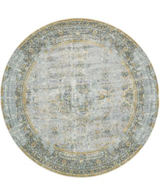 "Kenna Ken1 Gray 8' 4"" x 8' 4"" Round Area Rug"