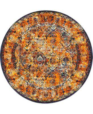 Mishti Mis1 Orange 8' x 8' Round Area Rug