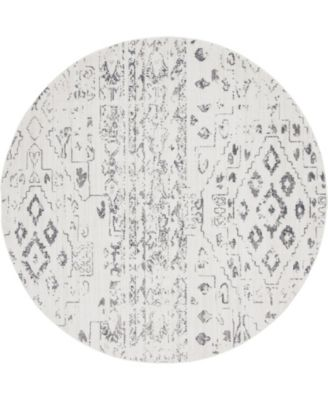 Nira Nir2 Ivory/Gray 8' x 8' Round Area Rug