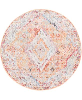 "Zilla Zil1 Orange 3' 3"" x 3' 3"" Round Area Rug"
