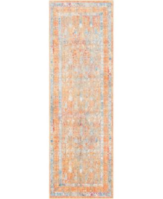 "Zilla Zil2 Orange 2' 7"" x 8' 2"" Runner Area Rug"