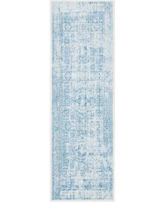 "Zilla Zil3 Light Blue 2' 7"" x 8' 2"" Runner Area Rug"