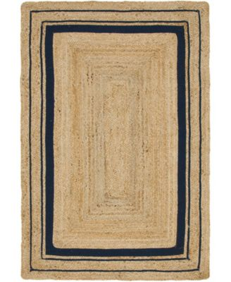 Braided Border Brb1 Natural/Navy 4' x 6' Area Rug