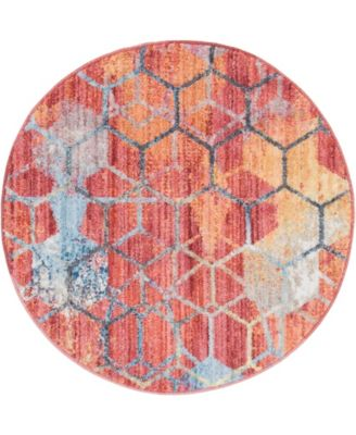 """Prizem Shag Prz1 Red 3' 3"""" x 3' 3"""" Round Area Rug"""