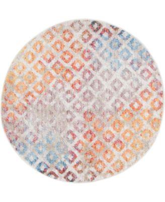 """Prizem Shag Prz2 Multi 3' 3"""" x 3' 3"""" Round Area Rug"""