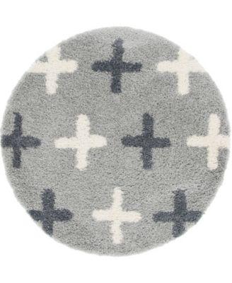 Lochcort Shag Loc7 Light Gray 5' x 5' Round Area Rug