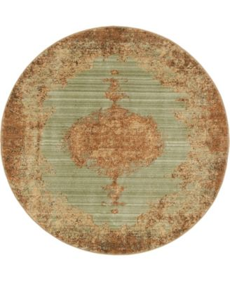 """Thule Thu2 Light Green 4' 5"""" x 4' 5"""" Round Area Rug"""
