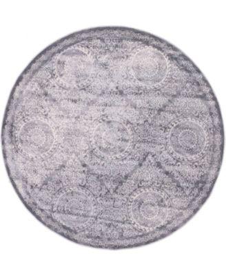 Anika Ani3 Gray 6' x 6' Round Area Rug