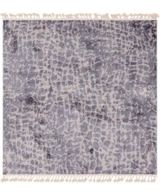 "Levia Lev3 Gray 7' 7"" x 7' 7"" Square Area Rug"