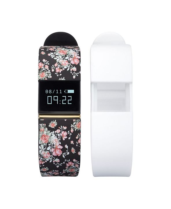 iTouch iFitness Activity Tracker with Black Floral Strap and Bonus White Strap