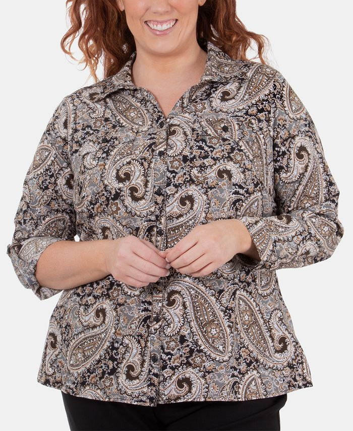 NY Collection - Plus Size Printed Utility Shirt