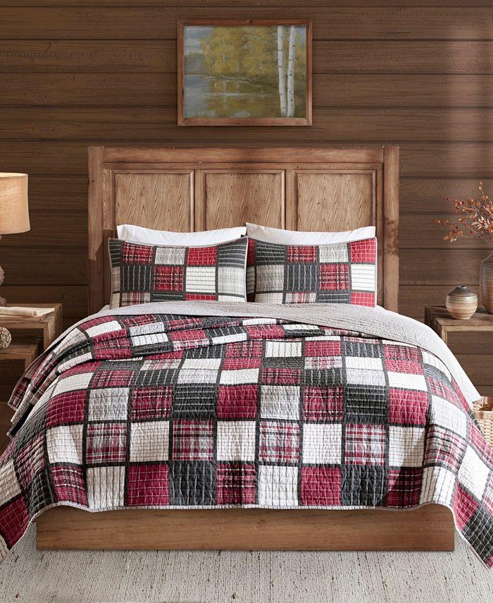 Woolrich - Tulsa 3-Pc. Oversized Plaid Print Cotton Reversible Quilt Sets