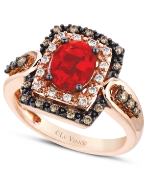 Le Vian 14k Rose Gold Ring, Fire Opal (5/8 ct. t.w.), Chocolate (1/4 ct. t.w.) and White Diamond (1/10 ct. t.w.) Ring