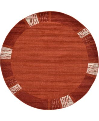 Lyon Lyo1 Rust Red 8' x 8' Round Area Rug