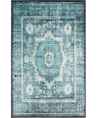 Linport Lin7 Turquoise 5' x 8' Area Rug