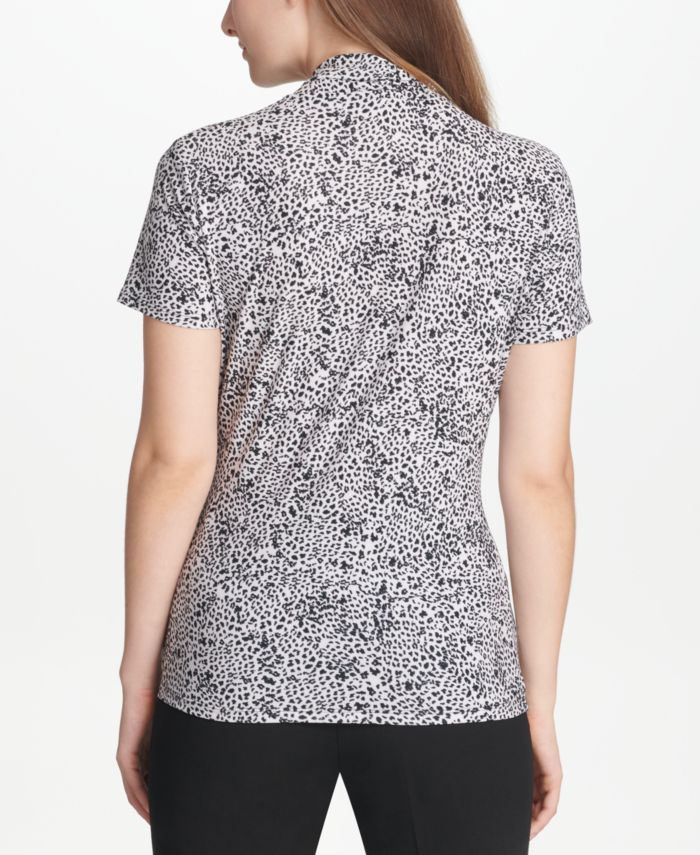DKNY Printed Side-Ruched Top & Reviews - Tops - Women - Macy's