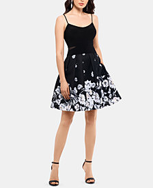 XSCAPE Printed-Skirt Fit & Flare Dress