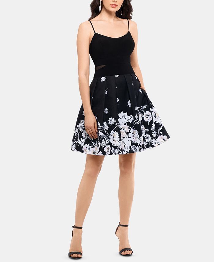 XSCAPE - Printed-Skirt Fit & Flare Dress
