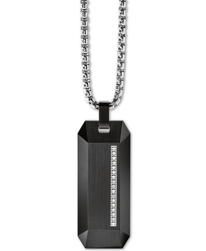 """Bulova - Men's Diamond Accent Beveled Dog Tag Pendant Necklace in Stainless Steel, 26"""" + 2"""" Extender"""
