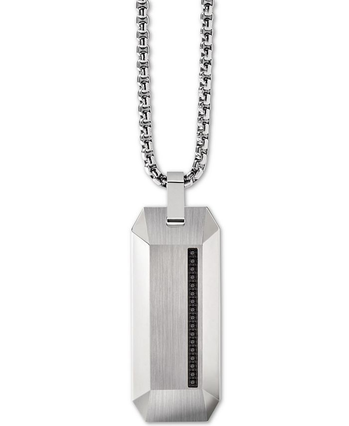"Bulova - Men's Diamond Accent Beveled Dog Tag Pendant Necklace in Stainless Steel, 26"" + 2"" Extender"