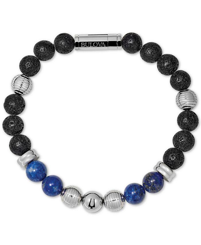 Bulova - Men's Black Lava & Lapis Bead Bracelet in Stainless Steel