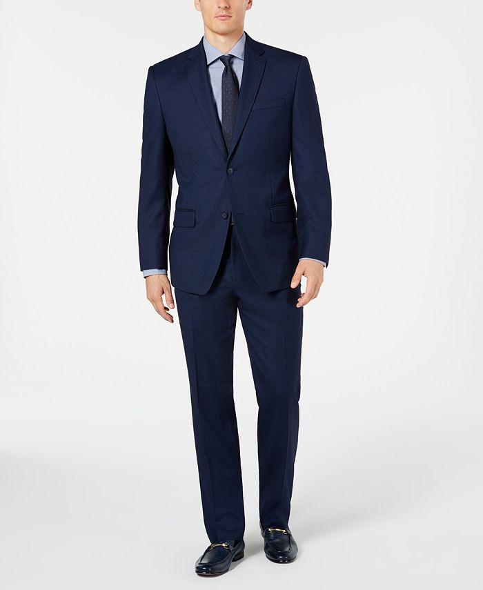 Marc New York - Men's Modern-Fit Stretch Blue Birdseye Suit