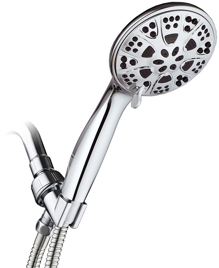 "Aquadance - 5"" 6-Setting All Chrome High Pressure Hand Held Shower Head with Hose"