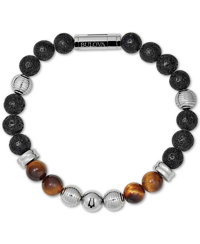 Bulova - Men's Tiger's Eye (8mm) & Black Lava Bead Bracelet in Stainless Steel, J96B020M