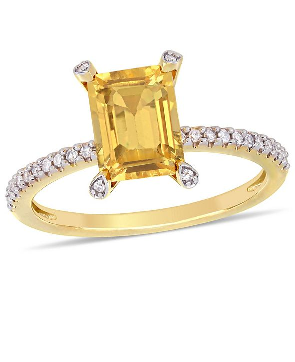 Delmar Citrine (1-1/2 ct.t.w.) and Diamond (1/10 ct.t.w.) Ring in 10k Yellow Gold
