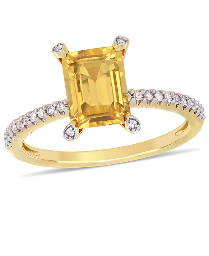 Macy's - Citrine (1-1/2 ct.t.w.) and Diamond (1/10 ct.t.w.) Ring in 10k Yellow Gold
