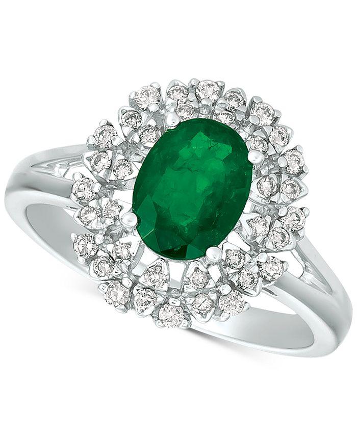 Macy's - Emerald (1-1/10 ct. t.w.) & Diamond (1/4 ct. t.w.) Ring in 14k White Gold