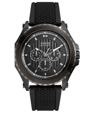 Guess Watch, Men's Black Silicone Strap 46mm U0063G1