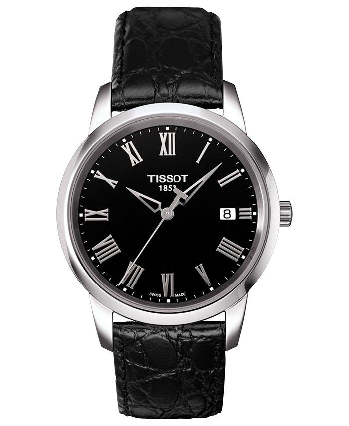 Tissot - Watch, Men's Swiss Classic Dream Black Leather Strap 38mm T0334101605301