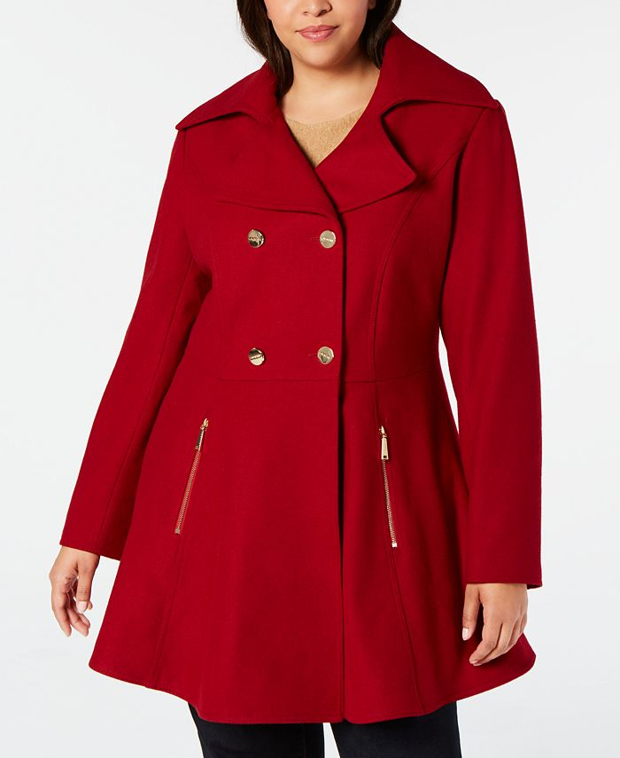 Laundry by Shelli Segal - Plus Size Double-Breasted Skirted Peacoat
